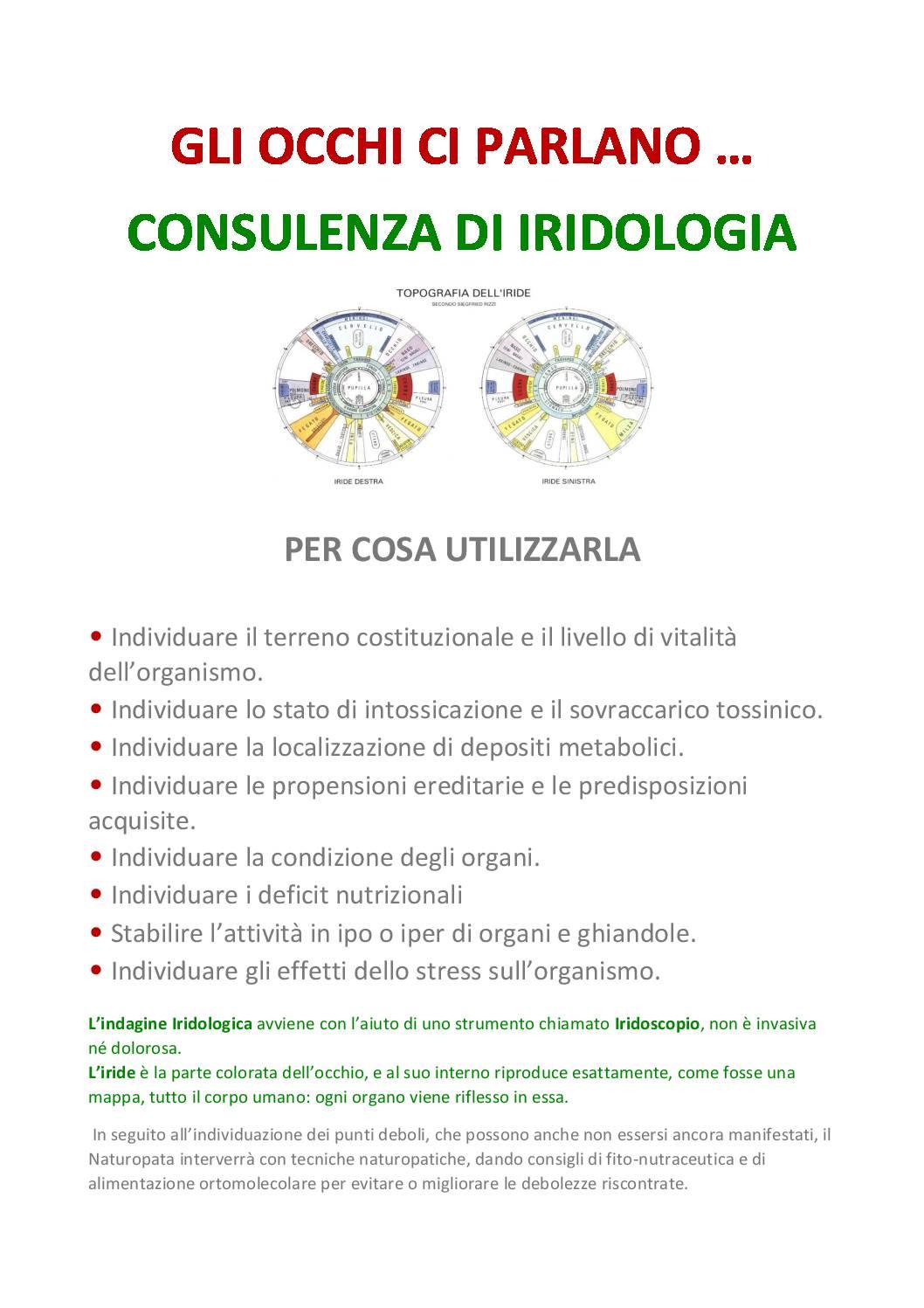 Consulenza di iridologia